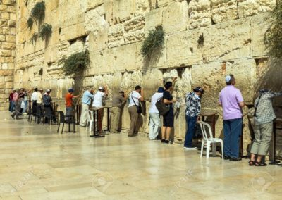 Jewish worshipers pray at the Wailing Wall an important jewish religious site